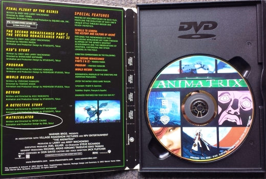 Peter Chung's work can be seen on one of the many excellent animated 'shorts' compiled on the 'Animatrix' DVD. His piece is entitled 'Matriculated'.